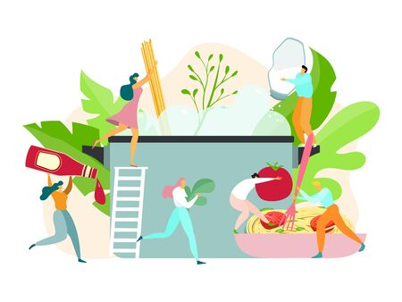 Pasta cooking concept, tiny people making spaghetti, traditional dish of Italian cuisine, vector illustration