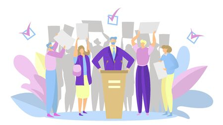 Election campaign, party candidate speech, people support political leader, vector illustration Stock Illustratie