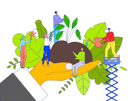 Environment support concept, tiny people planting trees, huge hand holding soil, vector illustration. Happy activist man and woman cartoon character. Volunteers growing saplings and seedlings together
