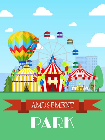 Amusement park and circus tent, ferris wheel flat vector illustration. Entertainment show, promotional invitation card.