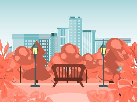 Autumn city park, bench in fall outdoor garden, flat vector illustration. Quiet national reserve. Design city background, arrival winter leaf fall, lovely peaceful place urban landscape.  Illustration