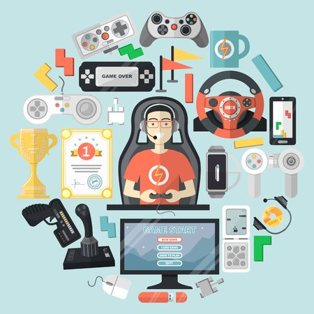 Cyber sport gamer character flat vector illustration. Master computer games, design personal computing machine and peripheral device.