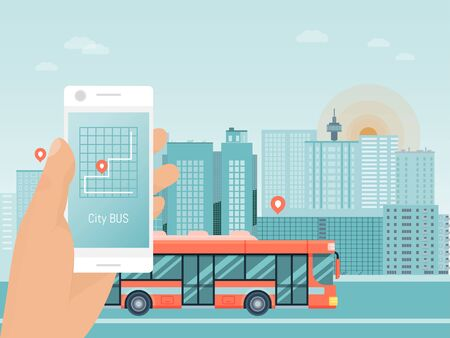 Hand hold smart phone app, city bus travel tour, autobus mobile application flat vector illustration. Street coach urban guided tour trip.
