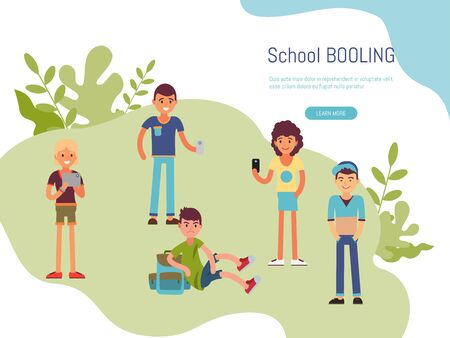 School bullying inscription website. Concept study problem bullying adolescents in educational institutions, vector illustration.  イラスト・ベクター素材