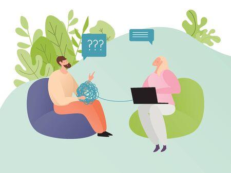 Concept reception at psychiatrist, consultation patient, doctor psychologist, design, cartoon style vector illustration.