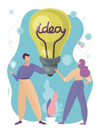 Concept education ideas in business, Communication between modern, creative people, design, cartoon style vector illustration. Brainchildren, lightbulb with inscription held by workers man and woman