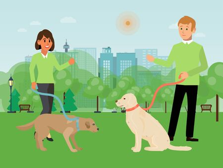 Voluntary people character male, female walking dog flat vector illustration. Volunteer assistant help hound owner, walk city national park. Animal care and support, outdoor recreation.