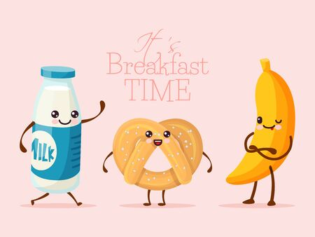 Breakfast funny cartoon character, banana fruit, sweet cookie biscuit and milk glass bottle flat vector illustration. Drawn person hold hand.