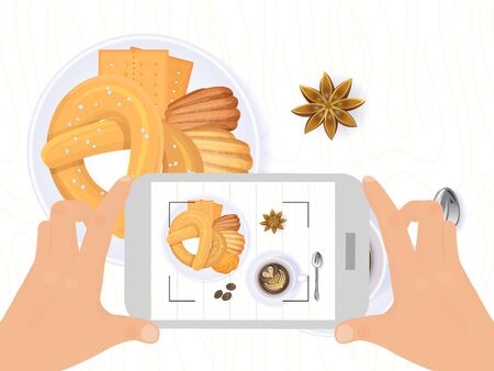 Photo foodstuff for social network, hand hold mobile phone device take shot isolated on white, flat vector illustration. Illustration