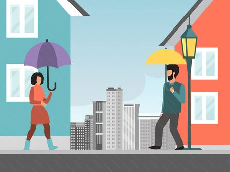 City rainy weather, character male female walking street with umbrella flat vector illustration. Urban bad drizzle meteorological condition. 向量圖像