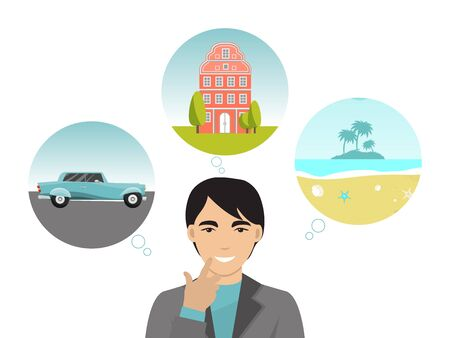 Person dream luxury car, big building house and travel around world isolated on white, flat vector illustration. Character wealthy successful life.