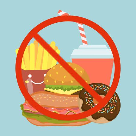 Stop fast food eating, bad dish hamburger, soda, donuts and french fries flat vector illustration. Prohibition sign garbage morbid meal.