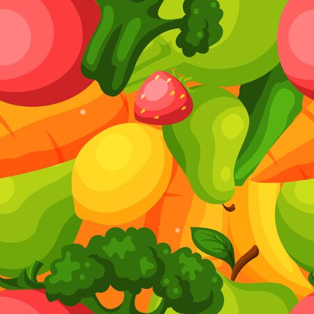 Organic vegetables fruits food seamless pattern flat vector illustration. Healthy eco food product. Wrapping design paper packaging.