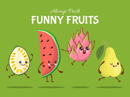 Funny fruit character jump walk, tropical food leap flat vector illustration. Watermelon, pear, dragon fruit and durian asia dish. Illustration