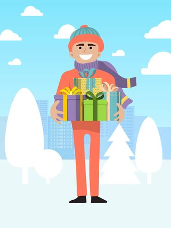 Male character present christmas gift box, person man flat vector illustration. International xmas holiday and eve new year.