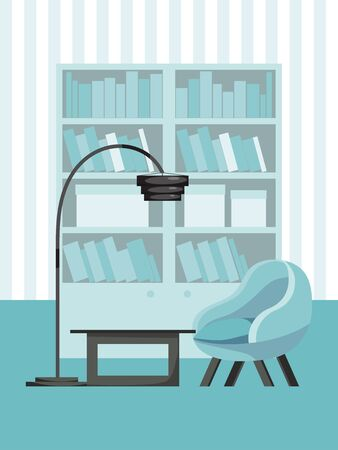 living room concept interior, cozy chamber place flat vector illustration. Relax in sofa couch, book wardrobe and table, floor lamp.