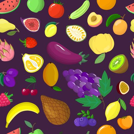 Organic vegetable tropical fruit seamless pattern flat vector illustration. Healthy eco food product. Wrapping design paper packaging. Illustration