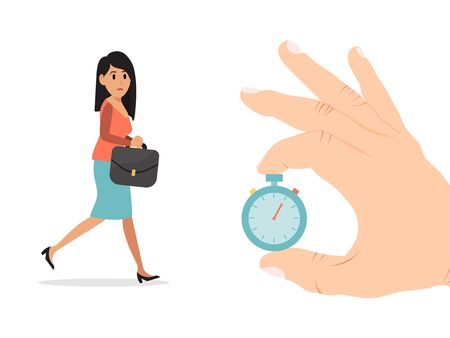 Hold hand gold pocket watch, businesswoman character delay work meeting isolated on white, flat vector illustration. Female business appointment.