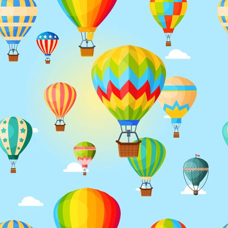 Colorful airballoon, pattern, air transport for travel, leisure and entertainment, design, flat style vector illustration.