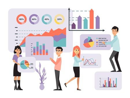 analytic concept, information collection, data analysis business infographic, design, cartoon vector illustration. Men, women, office workers.