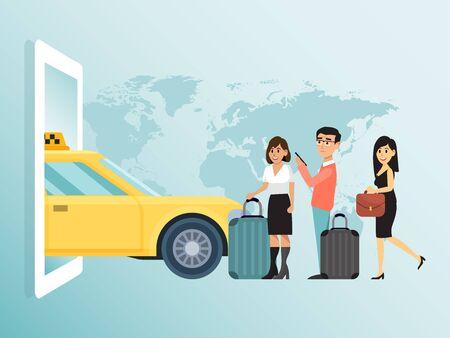Online order city concept taxi, couple lovely male female wait public transport businesswoman run flat vector illustration. Иллюстрация