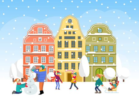 Family winter time spend, concept character kid male female make snowman flat vector illustration. Cozy christmas holiday mood snowball fight. Ilustracja