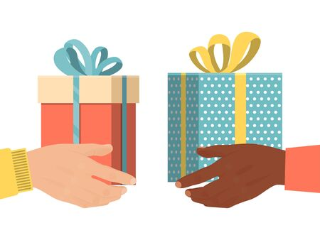 Different male hand hold present box gift, christmas souvenir isolated on white, flat vector illustration. International grant exchange.