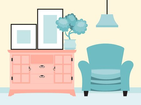Design home room interior decoration, soft armchair stand chamber clothing cabinet flat vector illustration. Home flower pot leaf.