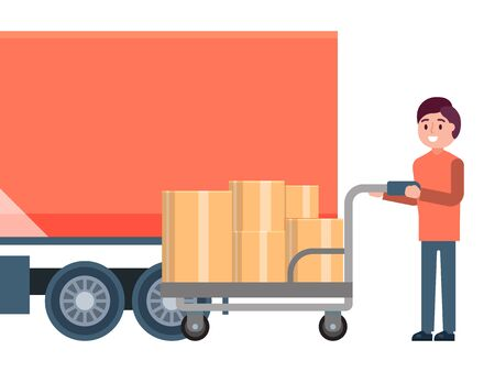Male character loader hold cart, fast delivery service truck logistic concept isolated on white, flat vector illustration. Иллюстрация