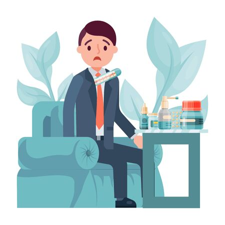 Male character flu, businessman sitting workplace take medicine drug isolated on white, flat vector illustration. Person concept rest armchair.