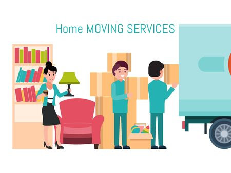 Male female character invocation moving service new house, man loader help removal stuff isolated on white, flat vector illustration. Иллюстрация