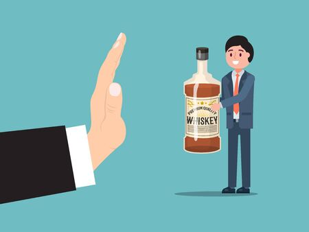 Male gesture stop alcohol consumption, man drunk character hold bottle whiskey isolated on blue, flat vector illustration.