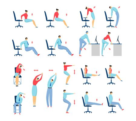Office stretching exercises people set of isolated vector illustration, business man and woman on chair workout and fitness.