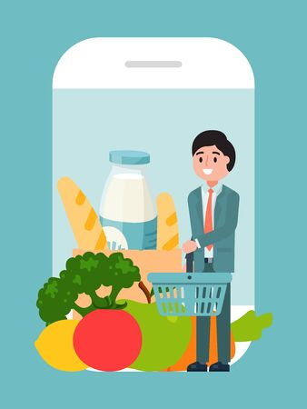 Online grocery food delivery service, cheerfully character male hold supermarket basket flat vector illustration. Business luxury health foodstuff.