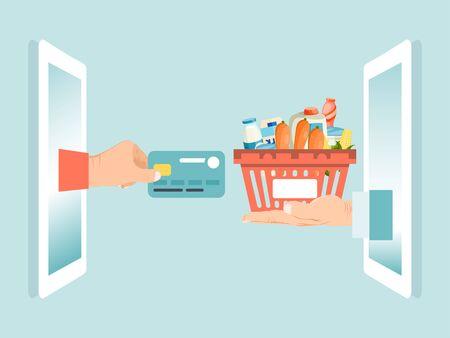 Male hand hold debit credit card, smartphone gadget online foodstuff order isolated on blue, flat vector illustration.