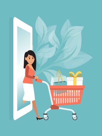 Online order clothes, buy wear box mobile phone and smartphone flat vector illustration. Character brunette female hold supermarket cart.