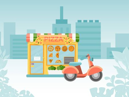 Italian pizzeria urban street kiosk, shop place quick delivery by motorbike flat vector illustration. Fast food service company street.