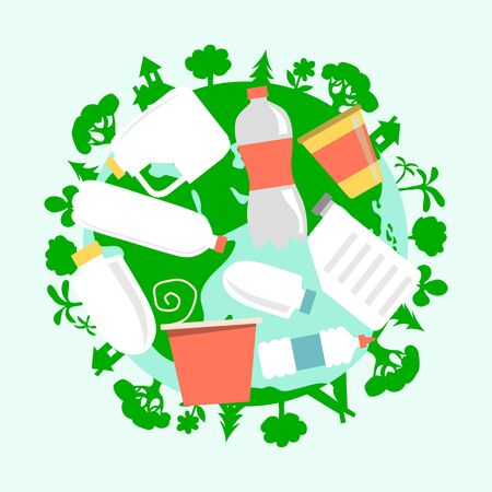 Plastic pollution concept round icon isolated on white, flat vector illustration. Ecology security protection surrounding environment.  イラスト・ベクター素材