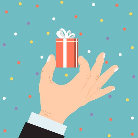 Male business hand hold present box gift, christmas souvenir isolated on blue flat vector illustration. Concept holiday confetti.  イラスト・ベクター素材