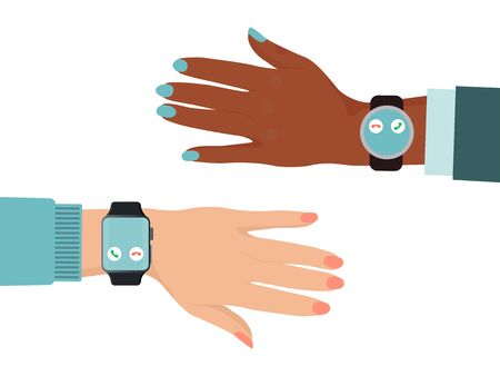 Hand different nations wear smartwatch, black and white color skin arm isolated on white, flat vector illustration. Online modern technology.