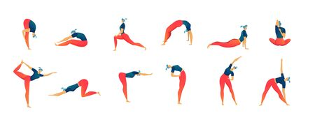Stretching exercises people set of isolated vector illustration, man and woman workout and fitness.