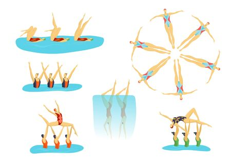 Woman athletes synchronised swimming in group, swimmers girls sport set of isolated vector illustrations. Ilustracja