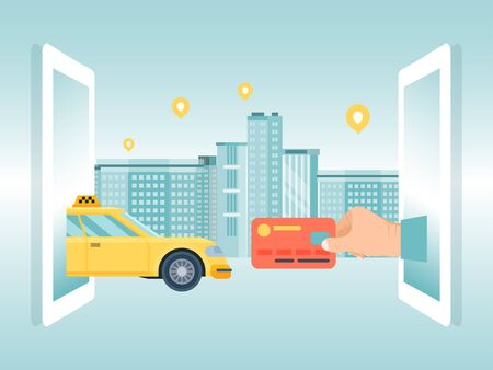 Order online taxi concept device, male hold credit card cab on city background, flat vector illustration. Banner remote warrant vehicle. Иллюстрация