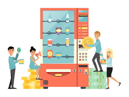Tiny male female character person use vending machine, people hold stack money cash gold coin and dollar isolated on white, flat vector illustration. Ilustracja