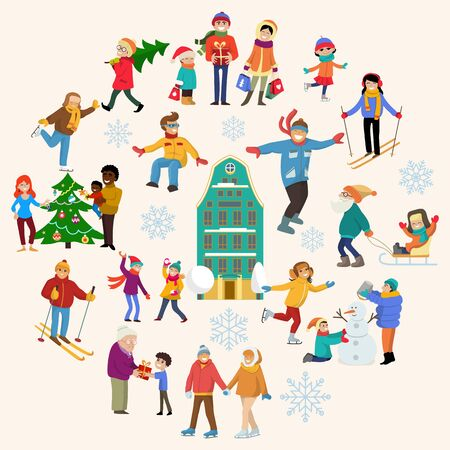 Group of people relax winter sport, christmas holiday mood season flat vector illustration. Xmas cold season character people rest.