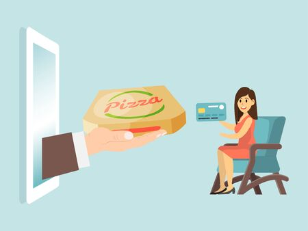 Woman character setting home armchair, online delivery fast food service flat vector illustration. Male hand hold italian pizza. Иллюстрация