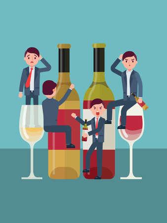 Alcohol addiction, people abuse spirit, man is an alcoholic, problem alcoholism, design, cartoon style vector illustration. 矢量图像