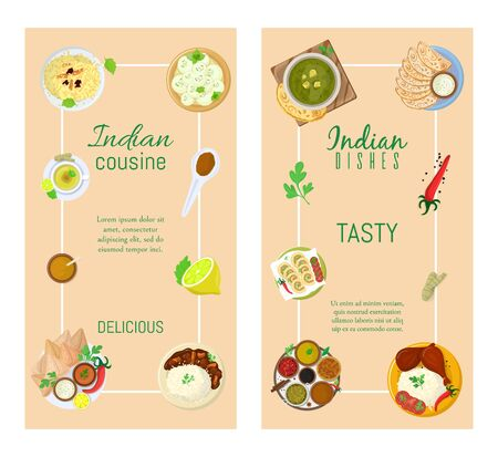 Authentic indian food, original delicious taste banner, flat vector illustration. Spicy asian foodstuff, piquant flavor meal product.