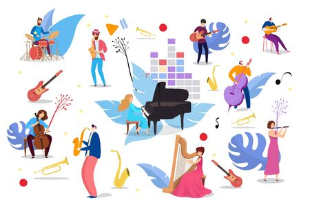 People playing on musical instruments, vector illustration. Man woman character musician with piano, guitar, saxophone, cello