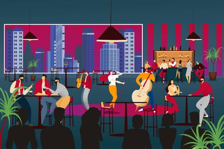 People listen to musician in modern design cafe vector illustration. Music band perform at restaurant, jazz music with lady singer Stock Illustratie
